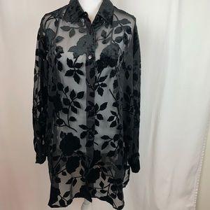 Lane Bryant sheer blouse w/ velvet floral pattern